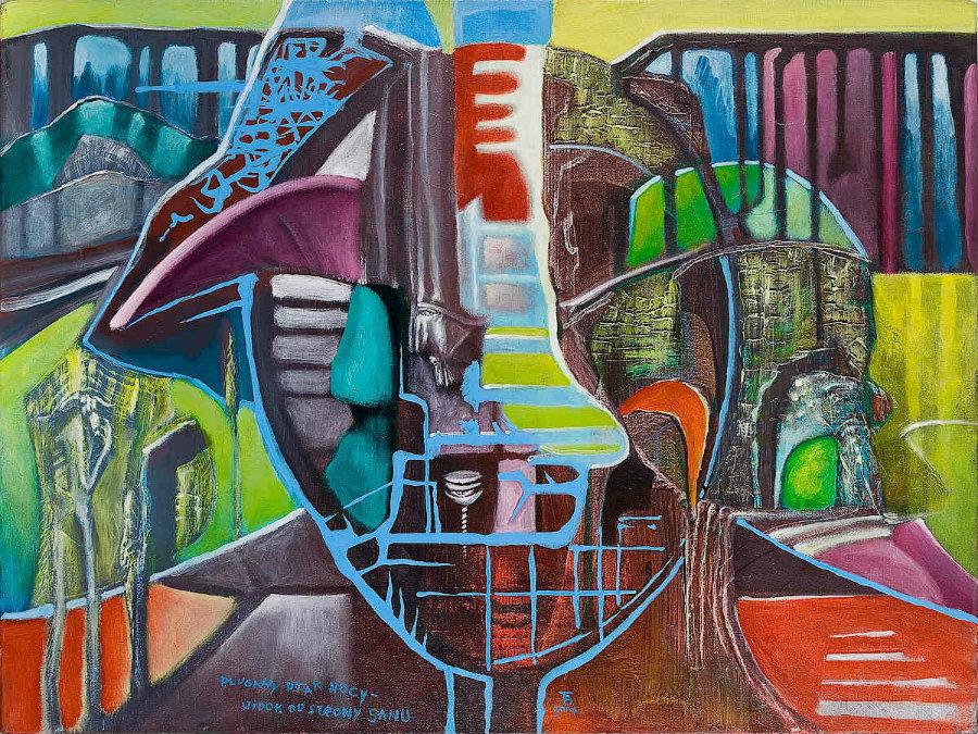 PLUGAWY PTAK NOCY - WIDOK OD STRONY SANU akryl-płótno, 61 x 46 cm